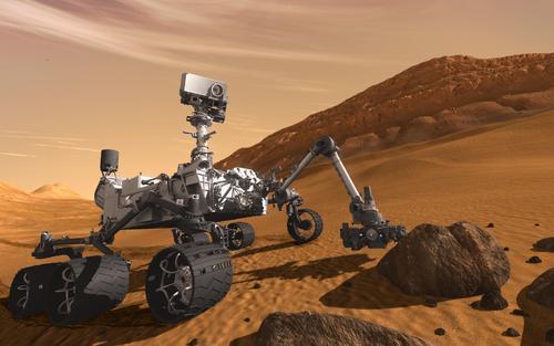 美国宇航局好奇号火星车在火星上弹出了一个独轮车