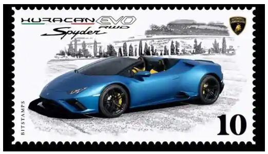 兰博基尼收藏家的数字邮票庆祝Huracan EVO RWD Spyder