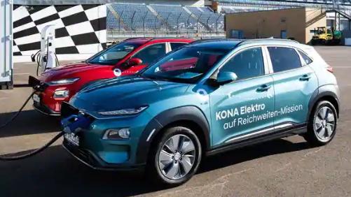 现代科纳电动车一次充电创造了超过1000公里的续航里程记录
